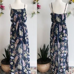 F21 blue spring floral maxi dress